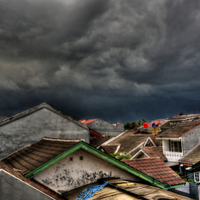 from my window by Tonny Haryanto - City,  Street & Park  City Parks ( scary, clouds, complex, rainy, housing, windows, house, bad day, lights, crawd, sky, nature, roofs, cluster, cloudy, homes, darkness,  )