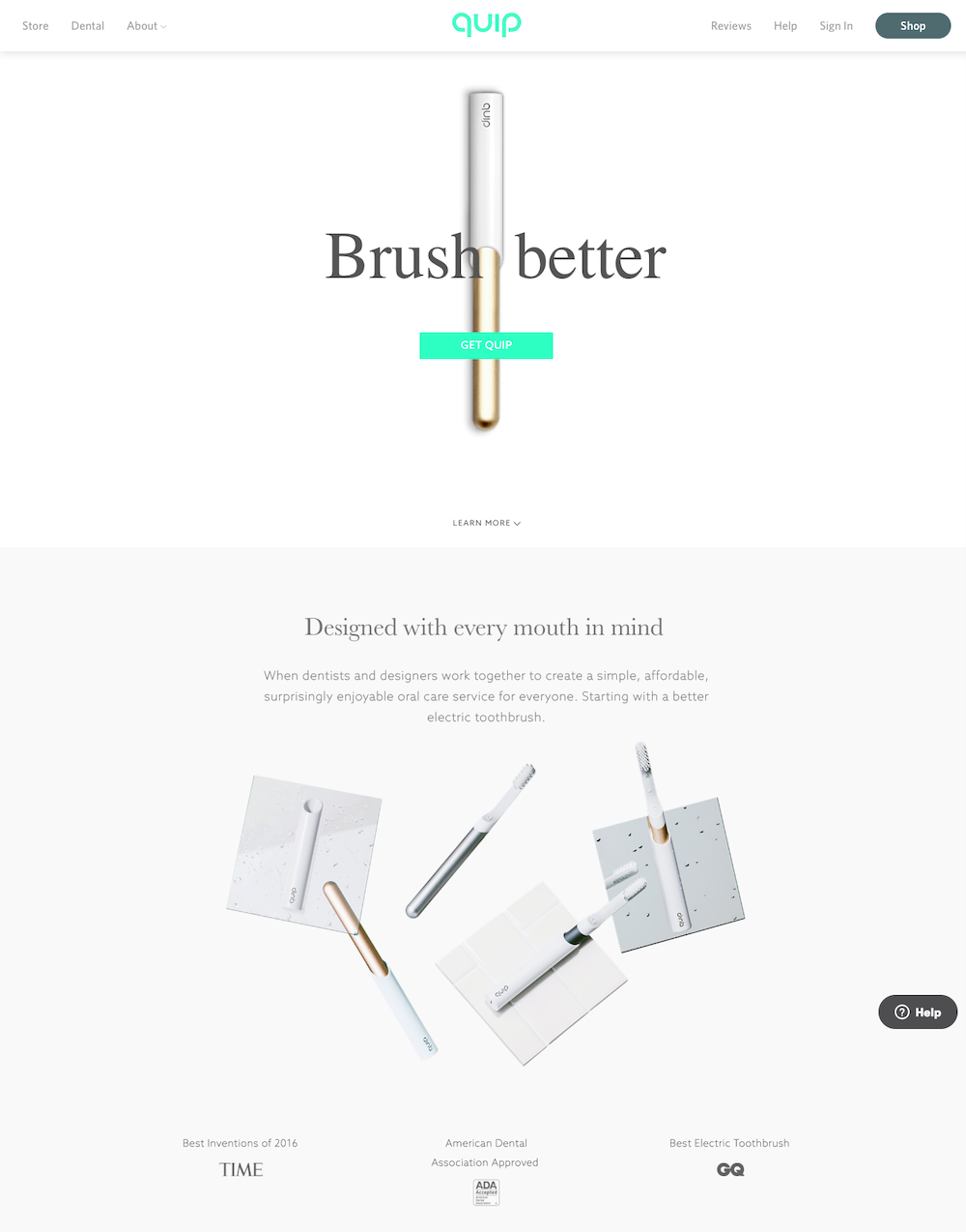 Great landing pages Quip