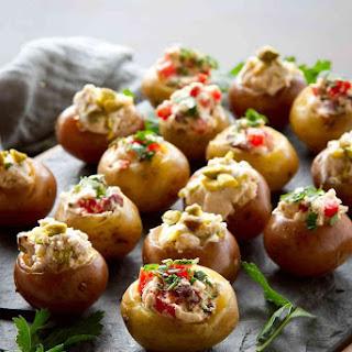 Mini Goat Cheese Stuffed Potato Appetizers - Greek-Inspired.
