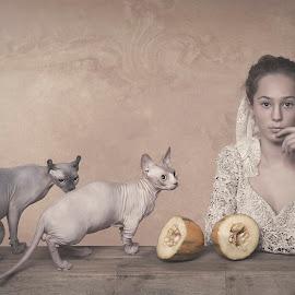 Me and my friends by Carola Kayen-mouthaan - Babies & Children Child Portraits ( child, cats, girl, fine art, portrait,  )