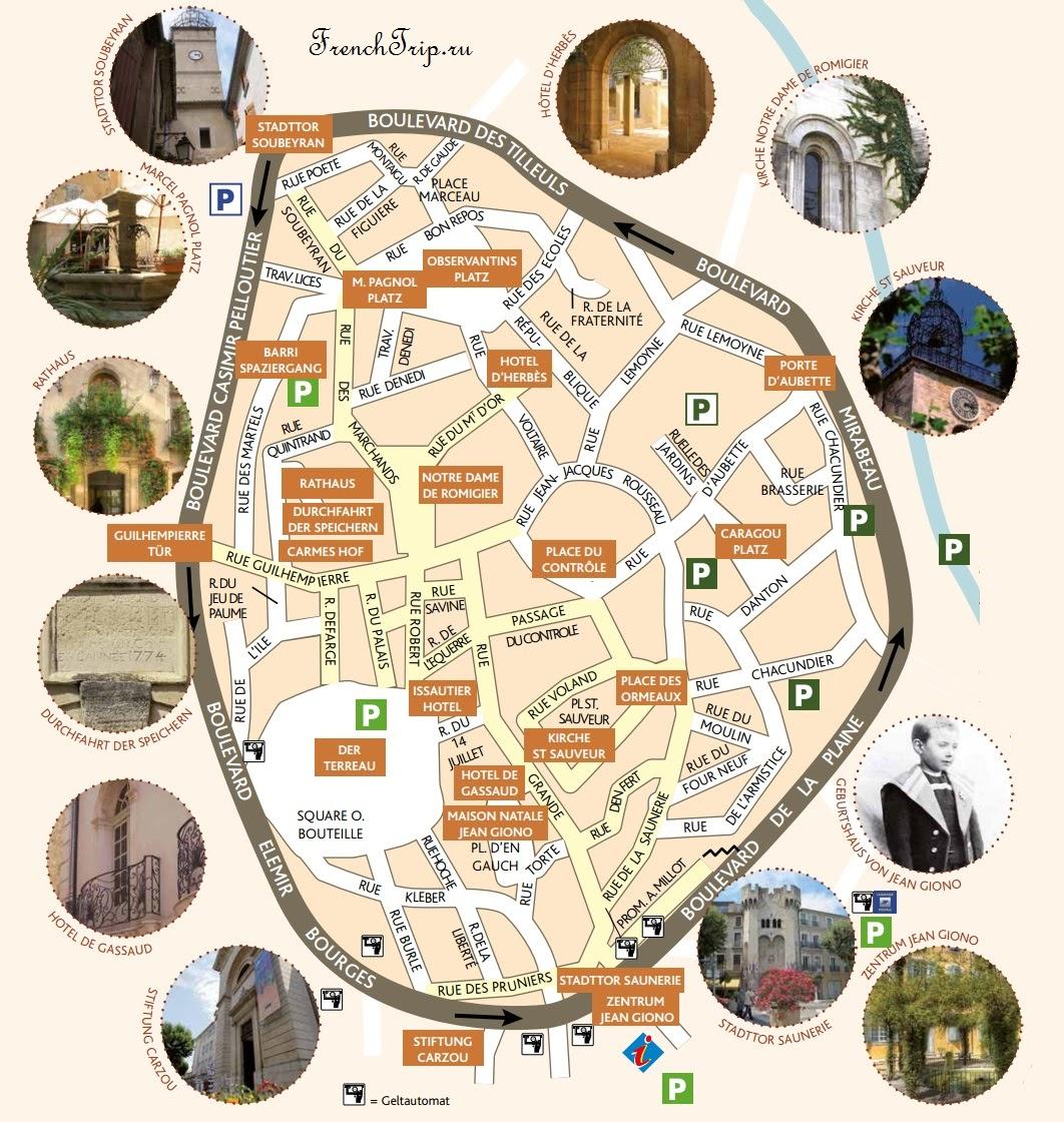 Карта города Manosque (Маноск) с отмеченными достопримечательностями, отелями и ресторанами