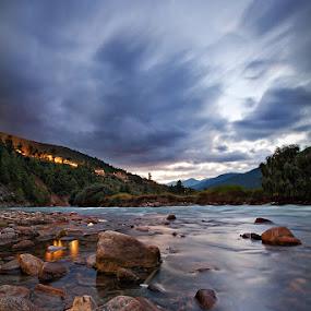River at Bhutan by Joseph Goh Meng Huat - Landscapes Waterscapes