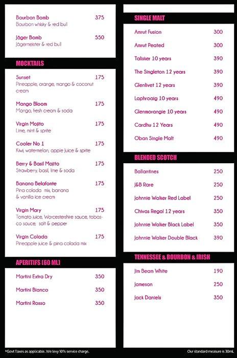 Bflat and Highnote Bar and Dining menu 3