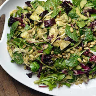 Crisp Salad with Sprouts & Miso-Lemon Dressing