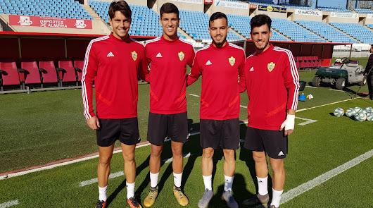 Ezequiel, Robles, Callejón y Fermín en el entrenamiento del primer equipo.