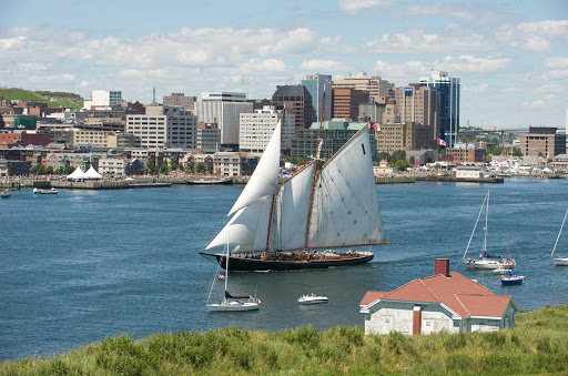 A schooner sails Halifax Harbour with the city's financial district as a backdrop.