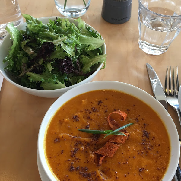 Curried Carrot Soup is in the menu every day. Shown with small side salad, which was a misunderstanding—I got different salad (see photo).