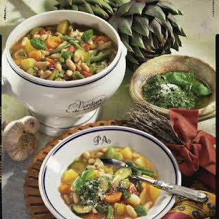 Soupe au Pistou - Provençal Vegetable Soup with Herb Puree.