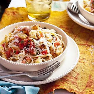 Bruschetta Linguine with Lemon Breadcrumbs
