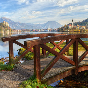 Bridge over Troubled Water (lake Bled) by Mara R. Sirako - Buildings & Architecture Bridges & Suspended Structures ( vacation, church, rowing, slovenia, bled, sport, holidays, castle, lake, travel, bridge, island,  )