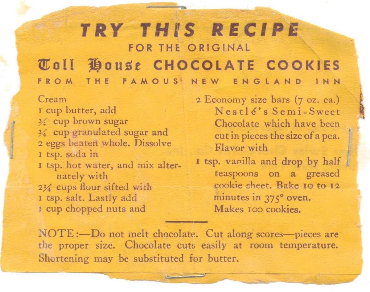 Nestle Toll House Choc Chip Cookie Recipe