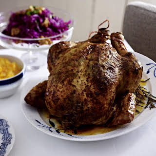 Roast Chicken with Potato and Squash Purée and Red Cabbage Salad.