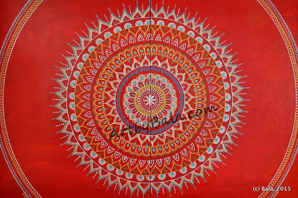 Textured mandala painting with acrylics