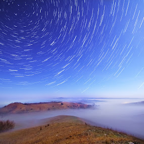 Murray Valley Trails by Evan Ludes - Landscapes Starscapes ( murray, foggy, fog, stars, trail, star, night, valley, trails, astronomy )