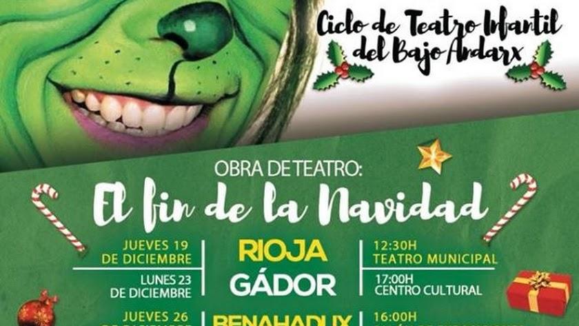 Cartel del Ciclo de Cine Infantil en Navidad en la Mancomunidad de Municipios del Bajo Andarax.