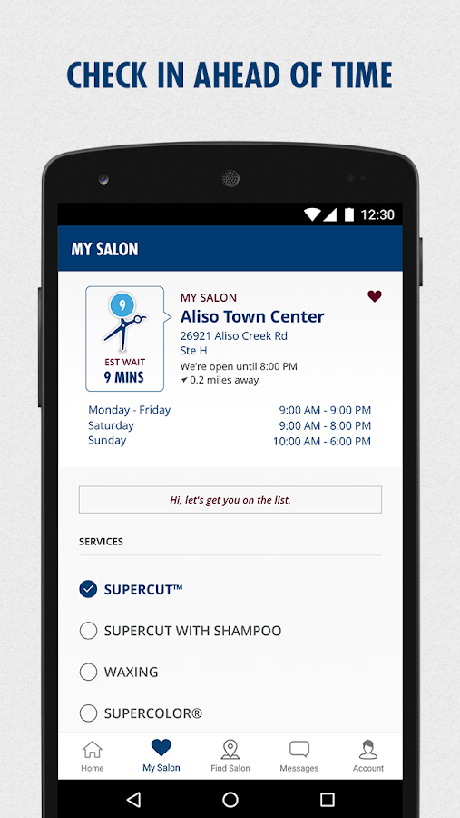 Jun 05,  · The Supercuts app offers one-click access to your favorite salon, an easy-to-use salon finder, and shows estimated wait times for the Supercuts hair salons near you. You can also check in a guest, click for directions, and get reminders before your haircut check-in time/5(K).