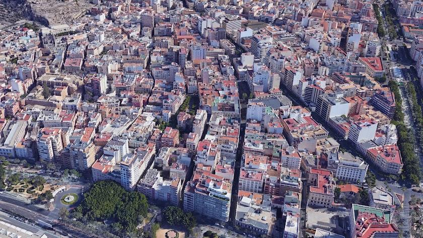 """Vista de lo que era la antigua 'musalla"""" de la ciudad de Almería."""