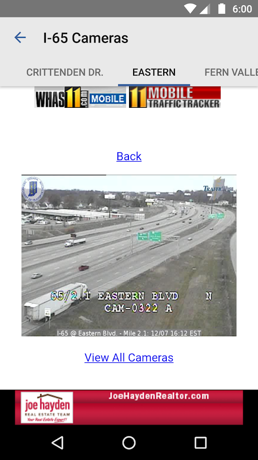 Louisville Traffic from WHAS11- screenshot