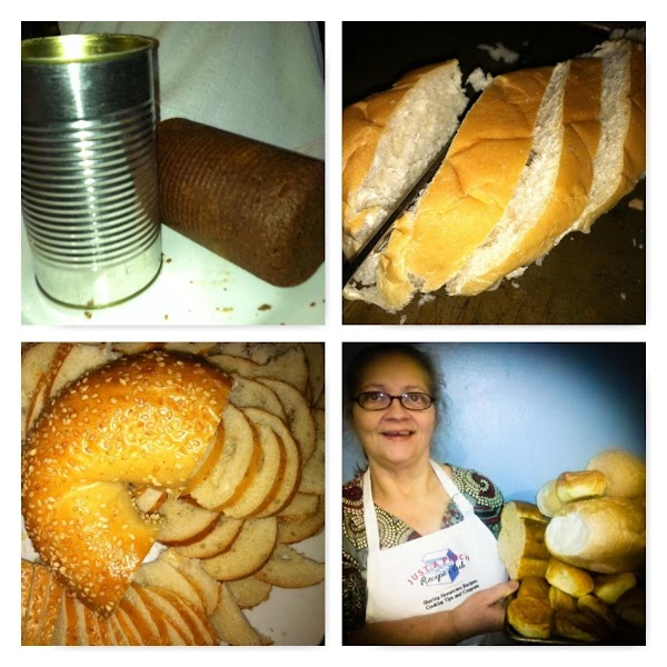 Made brown bread in a can, Italian bread, bagels ... cut them up and put them on the party table.