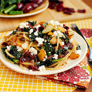 Pasta with Toasted Garlic, Dried Cranberries, Kale, Kalamata Olives & Feta