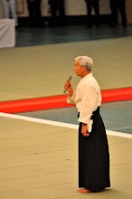 Photo: The Doshu giving his speech before his demonstration.