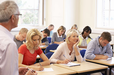 Older adults writing exams to fast track academic courses