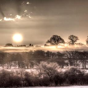 misty winter evening 1 by Ray Heath - Landscapes Sunsets & Sunrises ( uk, winter, snow, misty snow scene, sun, derbyshire, mist,  )