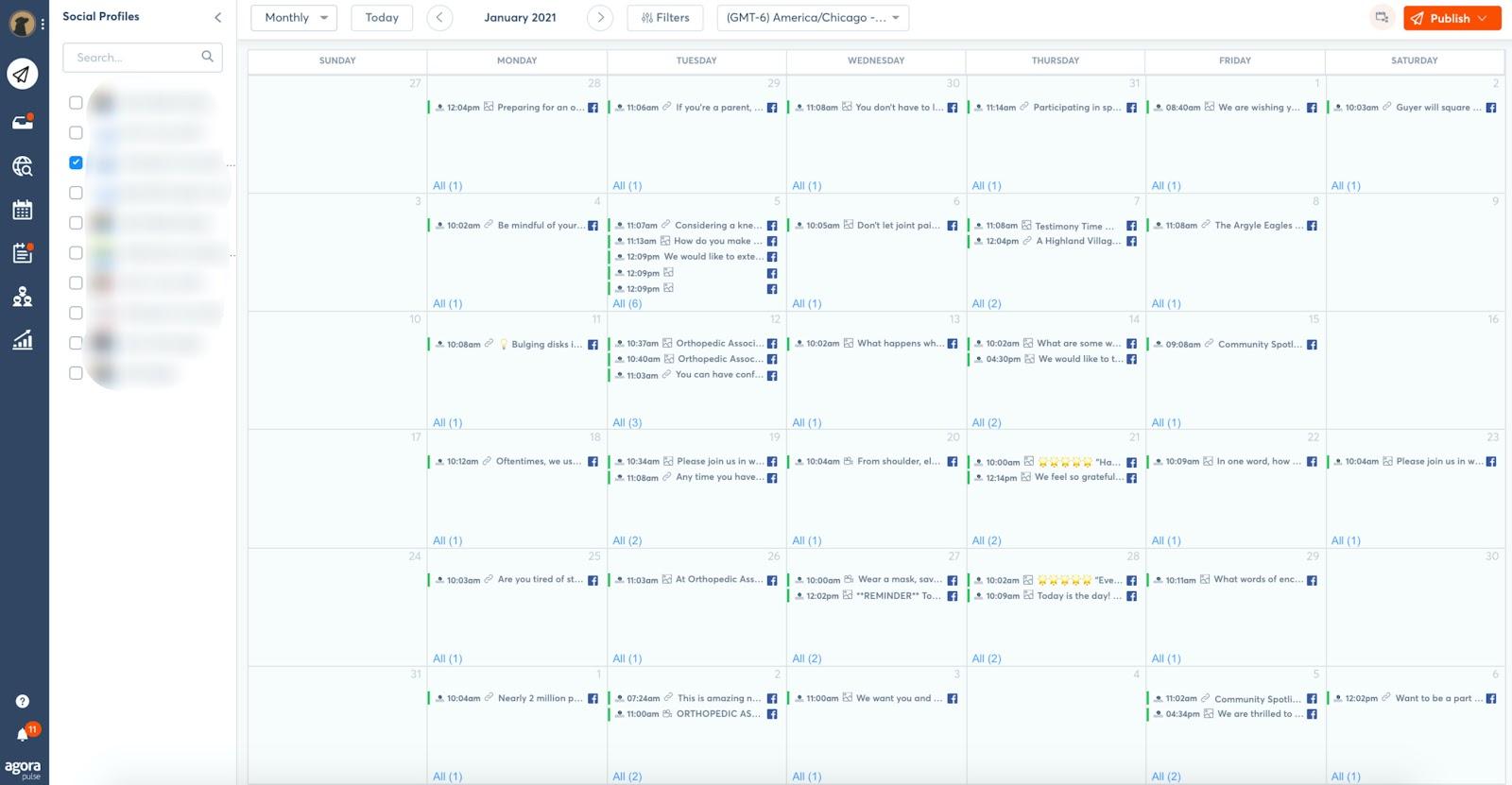 Display of Agorapulse social media planning calendar to show how organized the calendar is.