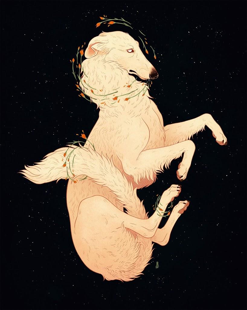 Misteriosas ilustraciones antropomórficas de perros, zorros y ciervos por Jenna Barton