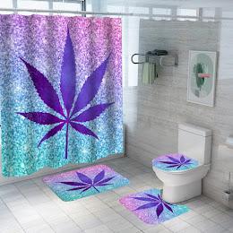 Set pentru baie: perdea, covorase si husa de toaleta, Purple Leaf
