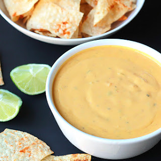 Vegan Queso with Spiced Tortilla Chips.