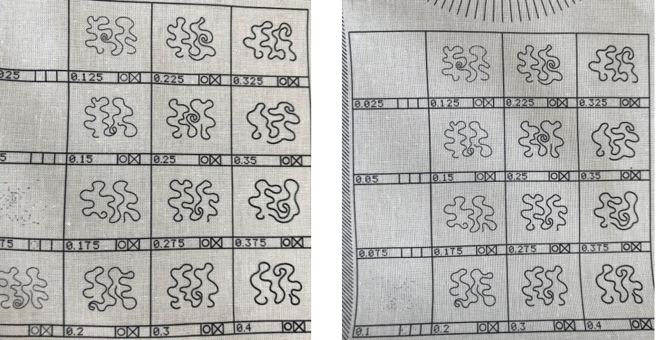 The printing of lines compared between the Ortascreen™ (left) and a conventional high mesh screen (right).