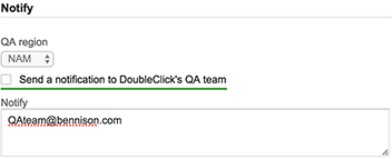 Checkbox that enables sending to DoubleClick
