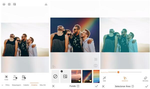 Foto de quatro amigos sendo editados pelo AirBrush, com a ferramenta Fundo