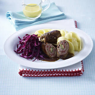 Beef Roulades with Red Cabbage Salad and Pasta.