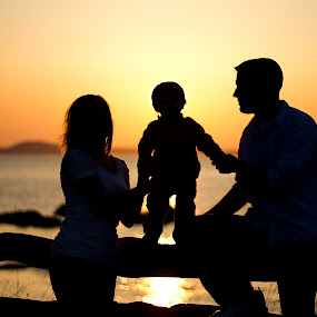 by Amy Spurgeon - People Family ( sunset, silhouette, family, beach )