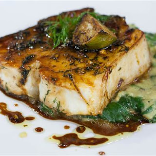 Lacquered Halibut with Charred Eggplant and Spinach