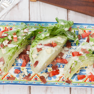 Healthy Wedge Salad with Turkey Bacon and Blue Cheese