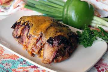 Bacon Wrapped BBQ Meatloaf Stuffed with Cheese!