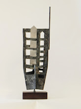 Photo: UP FROM THE ASHES - 20H X 5W X 5D Forged and Polished Mild Steel, Stained Ipe