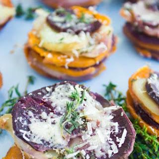 Tri-colored Mini Potato Gratins.