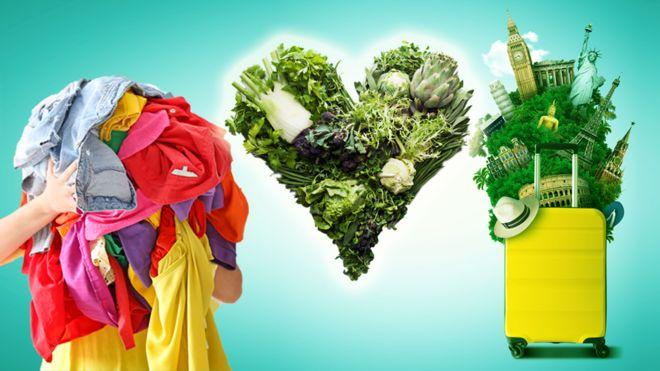 Clothes, green food and travel
