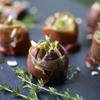 Roasted Figs with Bleu Cheese and Serrano Ham.