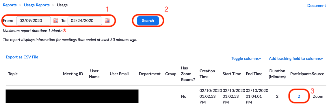 Image of a list of reports with a search function at the top of the page. A red box with the number one is around the From, To Date Range. A second red box with the number two is around the Search Button. A third red box with the number three is around the Participants section of a given Meeting report which will hyperlink to the next page.