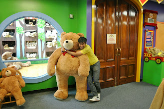 Photo: I was napping at one point, and when I woke up we were parked in front of a giant teddy bear factory. Feraz almost bought this so he would have a friend in DC.