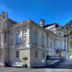 Linderhof Palace, Side by Elk Baiter - Buildings & Architecture Public & Historical ( linderhof palace, bavaria, germany, king ludwig ii )