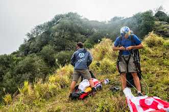 Photo: Horacio and I are getting ready to fly above Tahuata, the smallest of the inhabited Marquesas Islands