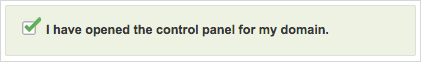 I have opened the control panel for my domain checkbox