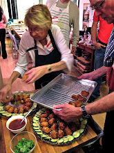 Photo: arranging the fried shrimp-and-crab toasts on the serving platters