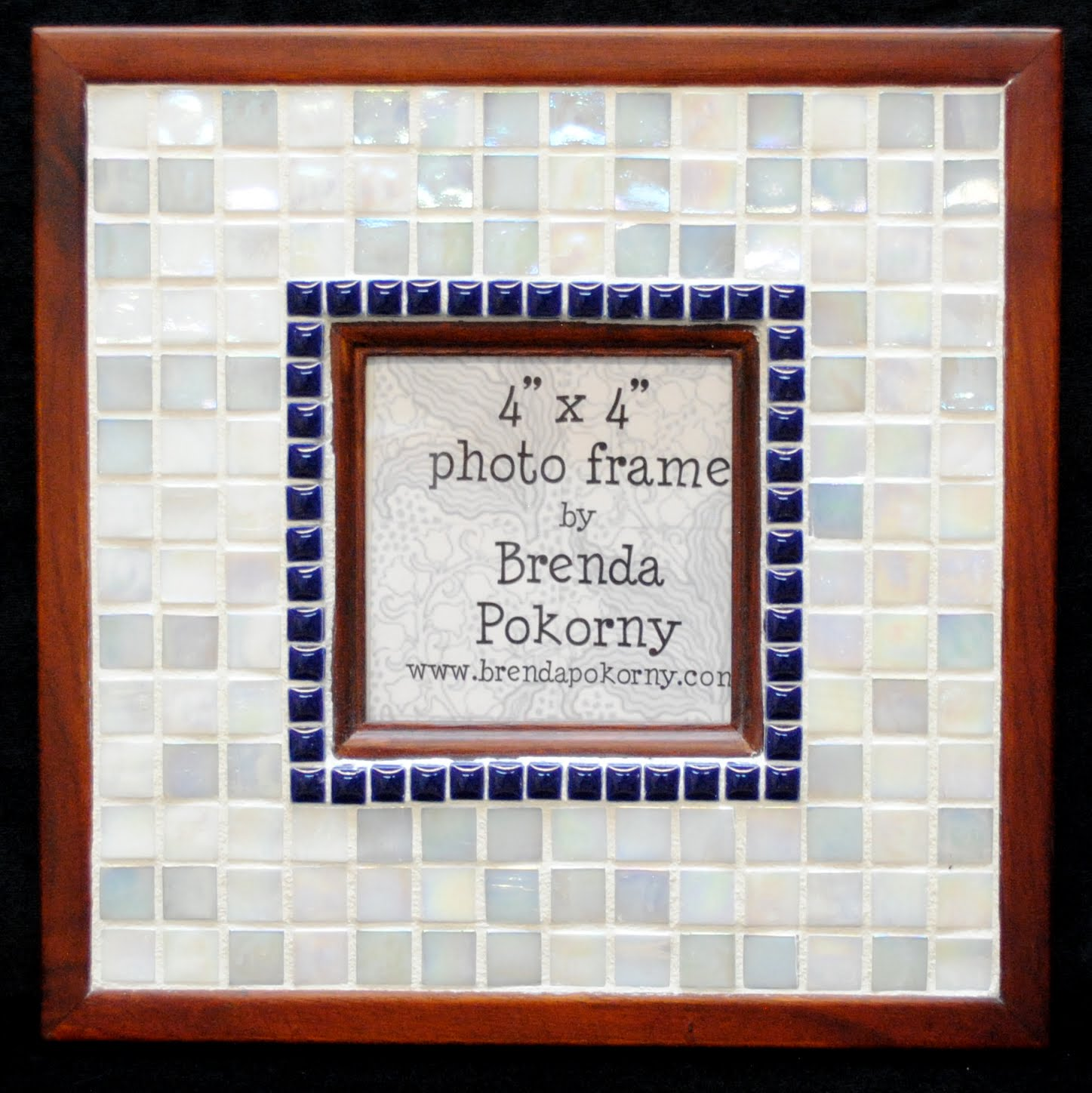 "Crisp Navy & Snow White 4"" x 4"" Mosaic Photo Frame MOF1456"